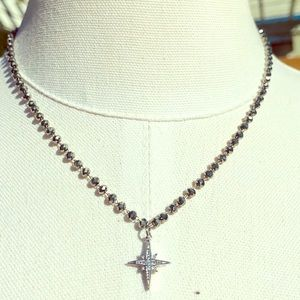 Jewelry - Silver Star with Cubic Zirconia on Hematite Chain